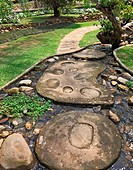 Footpath lined with decorative stones