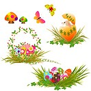 Set of colorful rabbit and springtime floral