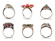 Set of jewellery rings on white