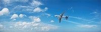 Jet plane in flight. Panoramic composition in high resolution.