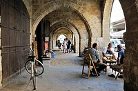 external arcades at Buyuk Han, ancient Ottoman caravansary, Nicosia, Northern Cyprus, Eastern Mediterranean Sea