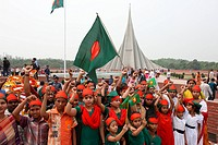 The National Memorial Tower or Jatiya Smriti Shoudha at Savar, about 20 km from Dhaka, in memory of those who sacrificed their lives during liberation...