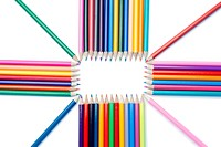 Top view of color pencils shape