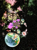 Digital art of the earth,outer space and hearts and stars  'Universal Love'