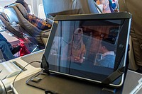 Newark, NJ, USA, Onboard British Aiways Flight, with IPADS, Boeing 757 Plane