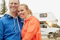 Mid_adult couple with motor home