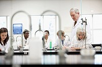 College students working in lab