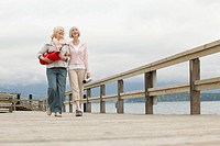 Friends walking on wooden pier