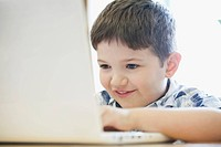Elementary student using laptop