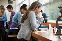 Middle school students with microscopes