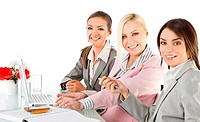 businesswomen working desk laptop