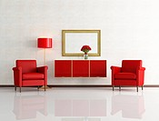 red and white modern interior