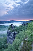 View from Schrammsteine rocks, viewpoint, with morning fog, Saxon Switzerland, Elbe Sandstone Mountains, Saxony, Germany, Europe