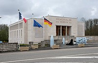 Modern building, memorial, historical military technology at front, First World War, Verdun, Lorraine, France, Europe