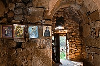 Icons in the interior of the Byzantine church of Vlacherna, near Mezapos in the Deep Mani, Southern Peloponnese, Greece