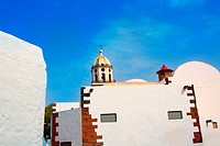 Lanzarote Teguise white village with church tower in Canary Islands