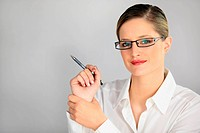 bespectacled blonde holding pen