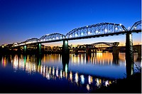 A Twilight view of the pedestrian Walnut Street Bridge, Chattanooga, TN