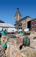 Archaeological Zone - Jewish Museum, archaeological excavation site at Rathausplatz square, Cologne, North Rhine-Westphalia, Germany, Europe