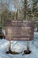 Crawford Path sign in he White Mountains, NH, USA Notes: Crawford Path is the oldest continuously used mountain trail in America.