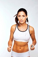 Fit Girl Excercising To Music