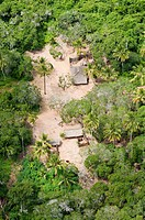 Aerial view, smallholder's farm in a plantation, Dar es Salaam, Tanzania, Africa