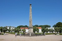 Obelisk, Circus, Putbus, Ruegen Island, Mecklenburg-Western Pomerania, Germany, Europe