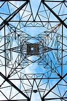 Electrical tower over a blue sky background