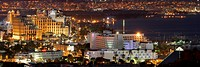 The hotels at night, Eilat, Israel The prominently featured hotels are: Hilton _ Queen of Sheba, Rimonim Neptune, Astral Seaside and Dalia. Hotels vis...