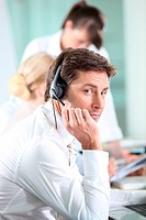 Male call centre worker