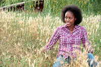 coloured girl in high grass