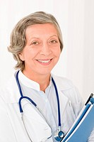 Senior doctor female hold folders smiling