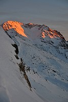 mountain snow fresh sunset at ski resort in france val thorens