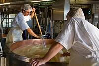 Switzerland, Canton Bern, Affolter Im Emmental, dairy production of Emmental cheese