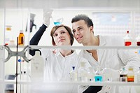 young students in bright lab