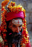A SADDHU or Hindu Renunciate at the temple of DASHINKALI. The goddess KALI is the wrathful form of PARVATI _ KATHAMANDU, NEPAL