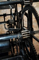 old big clock mechanism machine engine