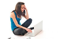 one young teen woman girl work on laptop isolated
