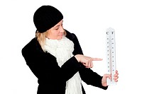 Blonde woman with a black coat and thermometer