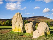 Castlerigg Stone Circle with Lonscale Fell behind  Lake District National Park near Keswick, Cumbria, England, United Kingdom