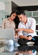 joyful couple relax and work on laptop computer at modern living room indoor home