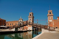 Arsenale di Venezia and Ponte Paradiso  Venice, Veneto, Italy, Europe.