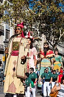 The Gegants Giants parade along the Rambla street during La Mercè festival, Barcelona, Catalonia, Spain
