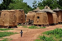 Adobe granaries for millet  Mali