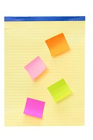 Notepad with Sticky Notes on White Background