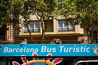 Tourists at the Touristic Bus of Barcelona Barcelona, Spain