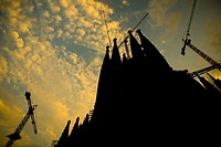 La Sagrada Familia church by Gaudi in Barcelona Spain  Sunset