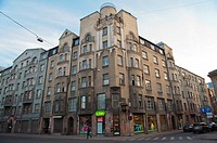 Art nouveau residential buildings New town Riga Latvia Europe
