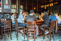 New York City, NY, USA, Young People Sharing Drinks inside 'Brooklyn Inn Hoyt' Bar