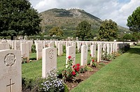 Italy, Lazio, Frosinone, Cassino  British Commonwealth war cemetery, Monte Cassino in the background